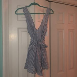 Brand new blue and white striped Zaful romper.